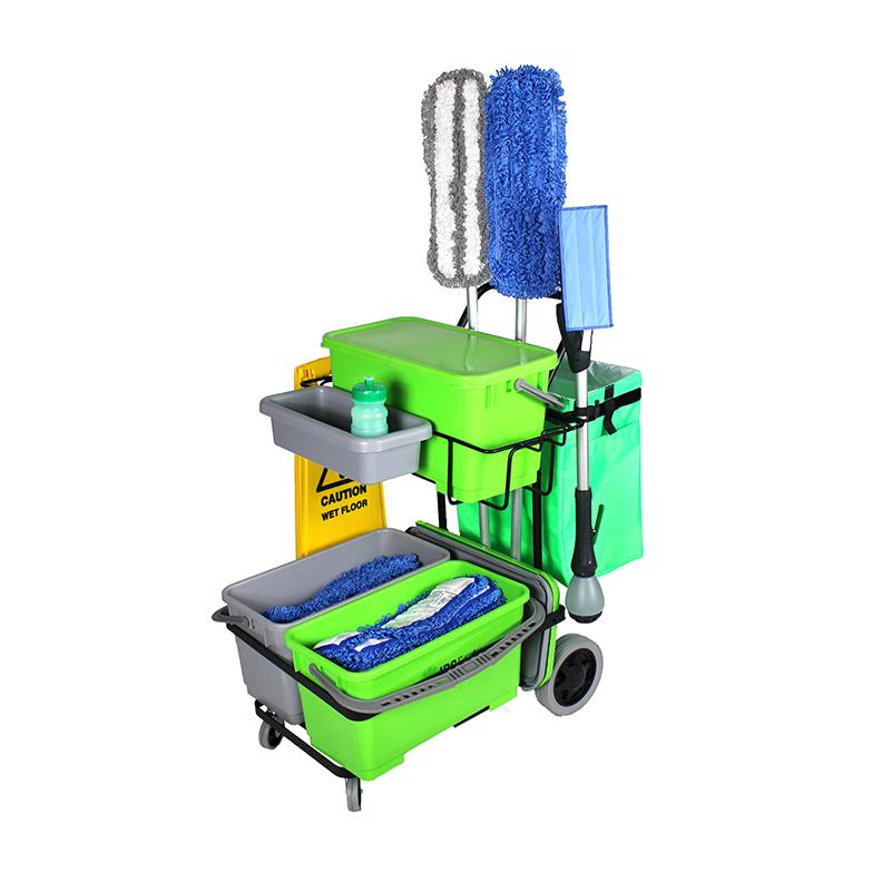 IPC Eagle ONECART300ST-HC2 ONECART 300 START CLEANO - 3 Bucket System & **Cleano Starter Mop Package - Cart with large rear wheels & dual casters. Includes three 6 gal. buckets with lids, one lid on the top shelf & dual lids on the bottom shelf, a garbage