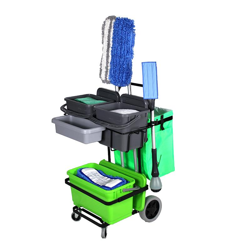 IPC Eagle ONECART310ST-HC2 ONECART 310 START CLEANO - 3 Bucket System & **Cleano Starter Mop Package - Cart with large rear wheels & dual casters. Includes two 3.5 gal. buckets with lids on the top shelf, one 6 gal. bucket with lid on the bottom shelf, a