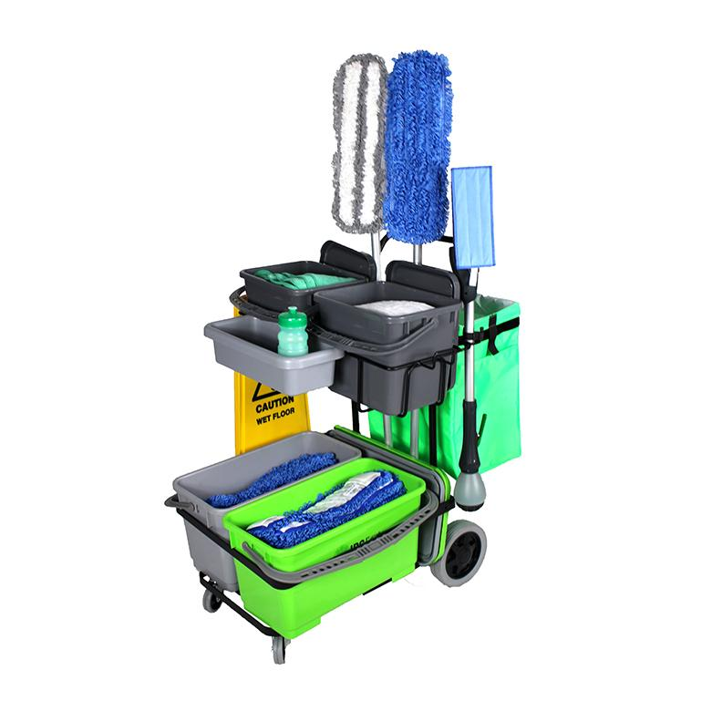 IPC Eagle ONECART410ST-HC2 ONECART 410 START CLEANO- 4 Bucket System & ** Cleano Starter Mop Package - Cart with large rear wheels & dual casters. Includes two 3.5 gal. buckets with lids on the top shelf, two 6 gal. buckets with lids on the bottom shelf,