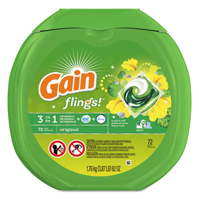Gain Flings Detergent Pods 72/Container 4 Container/Carton