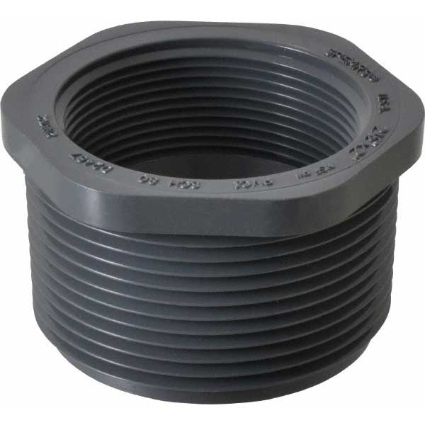 Reducer Bushing 2-1/2in Mip x 2in Fip PVC Sch. 80 Flush Style (MPT x FPT)