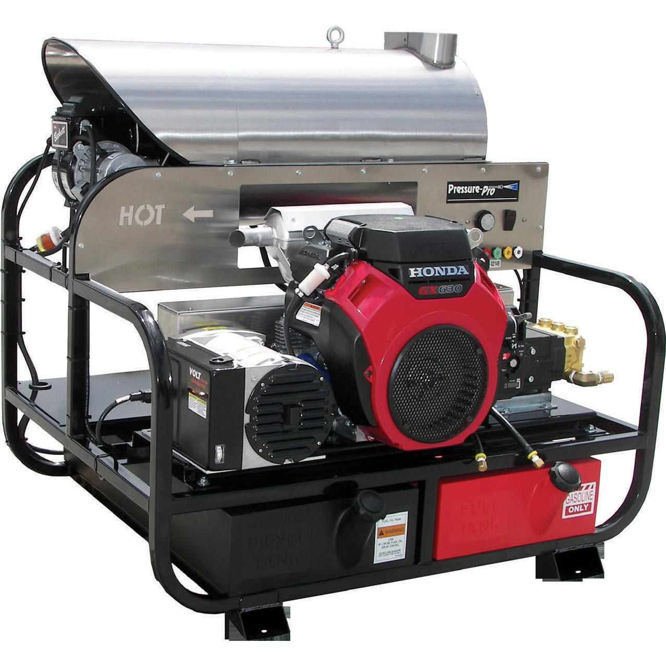 Pressure PRO 6115PRO-20G Super Skid HOT Washer 5.5gpm 3500psi 20Hp Honda Engine General Pump w Generator
