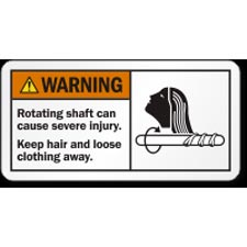 "Rotating Shaft Can Cause Severe Injury Safety Sticker 1.25"" X 3"" Each 87906599"