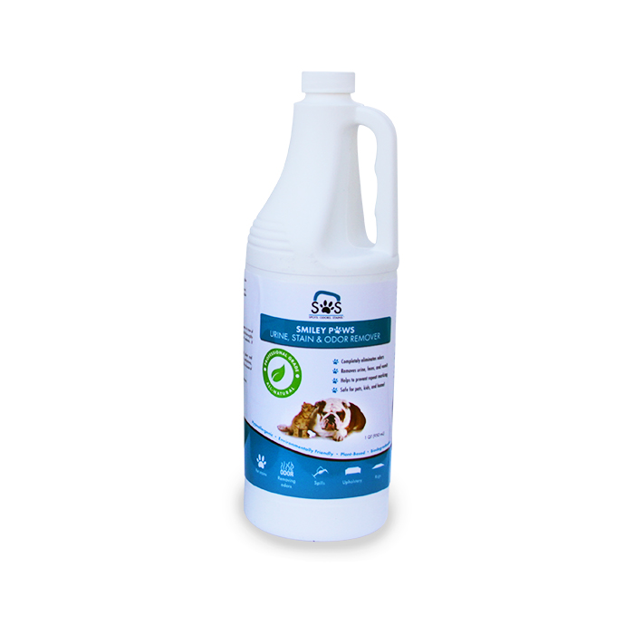 SOS StainOut Systems 865183000113: Smiley Paws Pet Urine, Odor, and Stain Remover QT