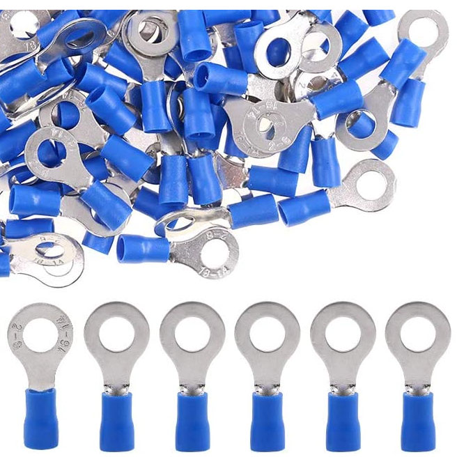 Solderless Crimp Vinyl Blue Insulation 14-16 Awg X 1/4inch (6mm) Hole Ring Connector 623204 EACH