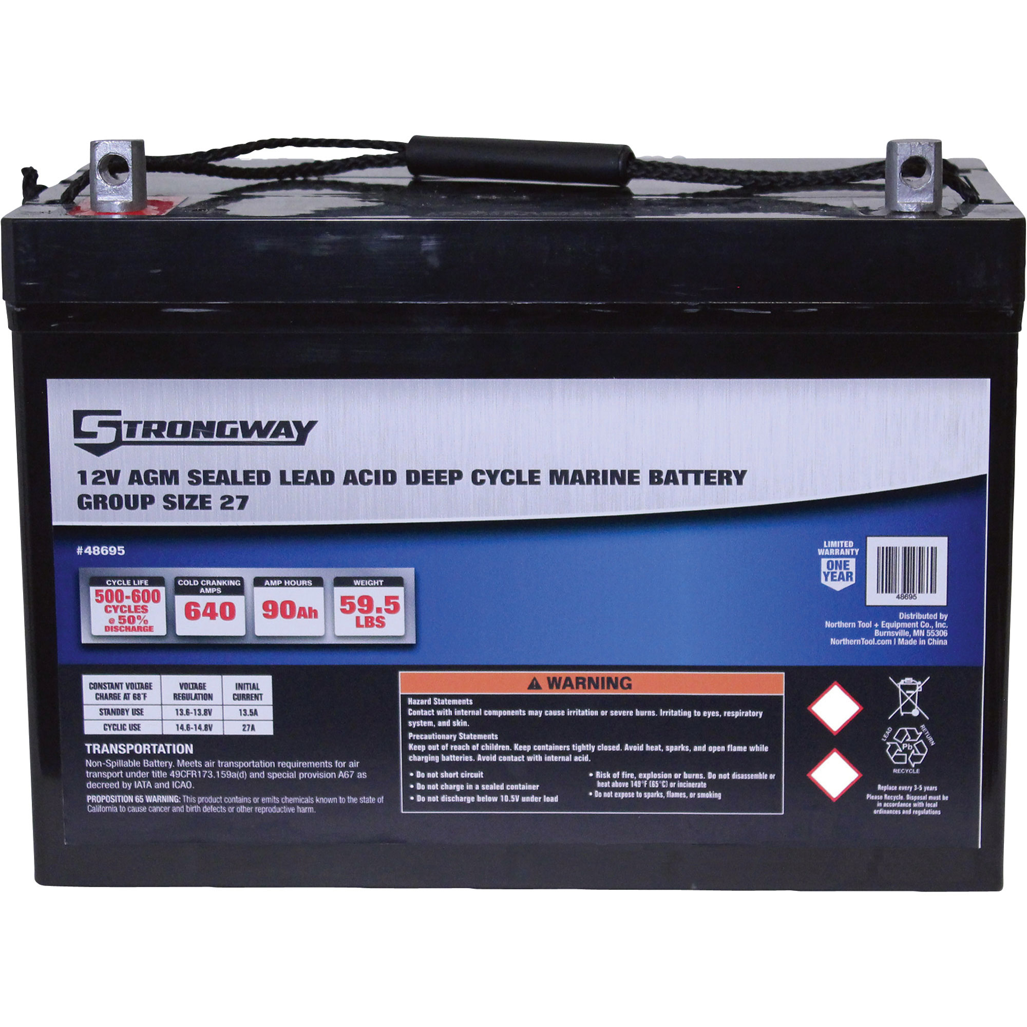 Strongway Deep Cycle Marine Battery — Group Size 27 12 Volt 90 Ah Sealed Lead Acid 48695