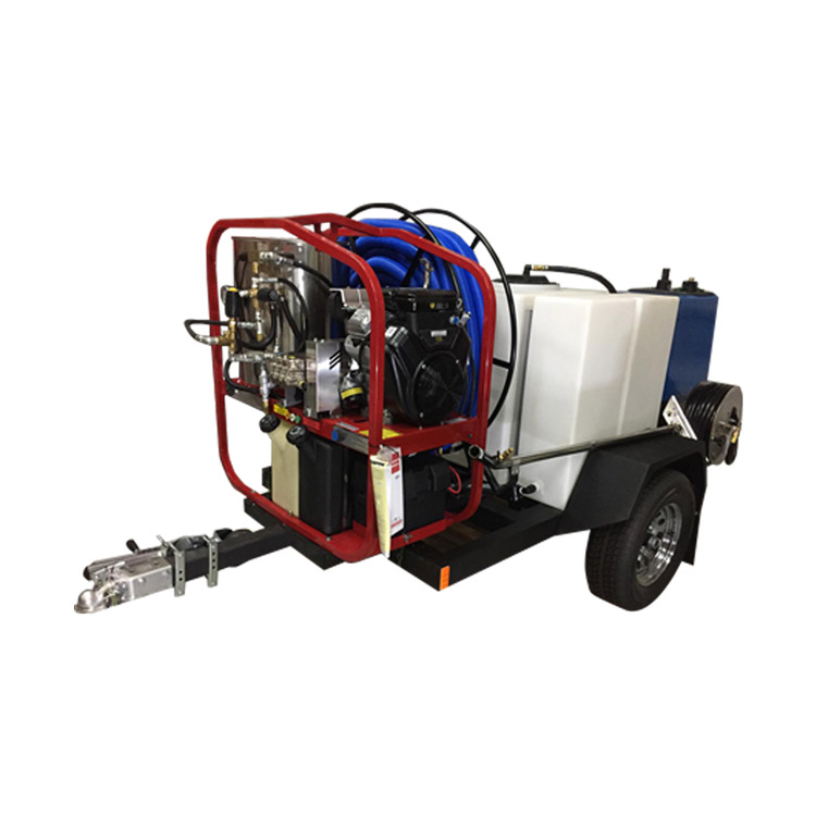 SteamBrite Trailer Truck Mount 33Hp 4000psi HOT 4.8Gpm Goliath 15hg Vacuum BE9000 Watt Generator 200Gal Fresh Tank Hydrotek HOT Pressure Washer TM33-340 cfm
