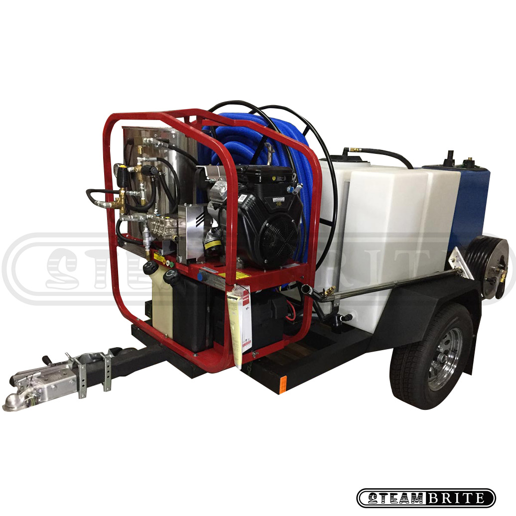 -SteamBrite Trailer Truck Mount 33Hp 4000psi HOT 4.8 gpm Goliath 15hg Vacuum Recovery BE9000 Watt Generator 200 Gal Fresh Tank Hydrotek SK40005VHT185SKH HOT Pressure Washer TM33-340 cfm