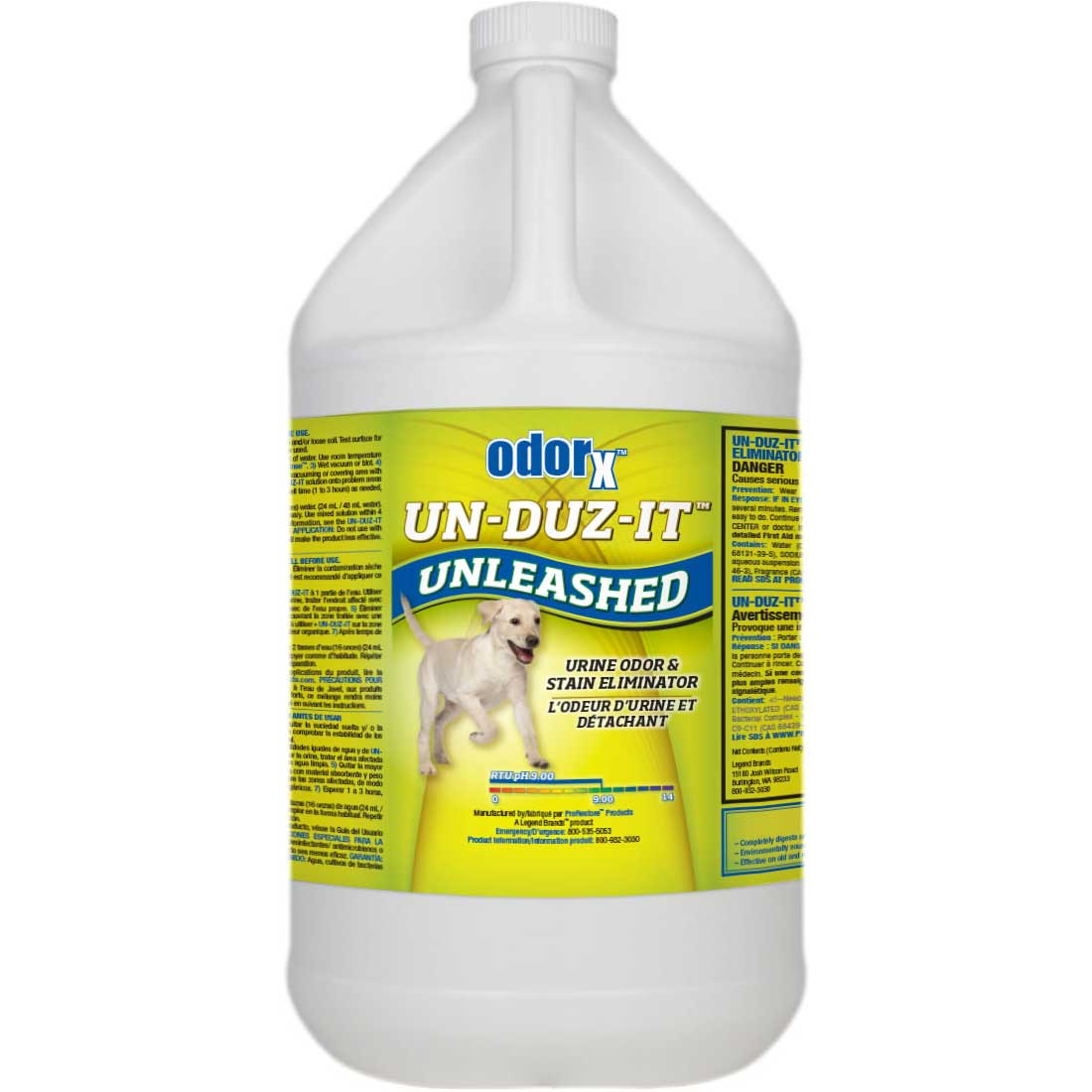 OdorX Un-Duz-It Unleashed 433162000 Urine Odor and Stain Eliminator Gallon [847136002405] Un-Leashed Legend Brands