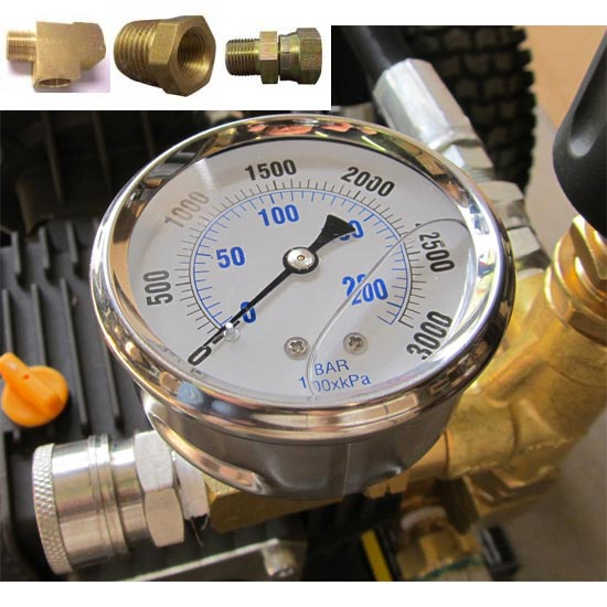 Add Pressure Gauge to a Pressure Washer 3000 psi (self install kit) 20150801