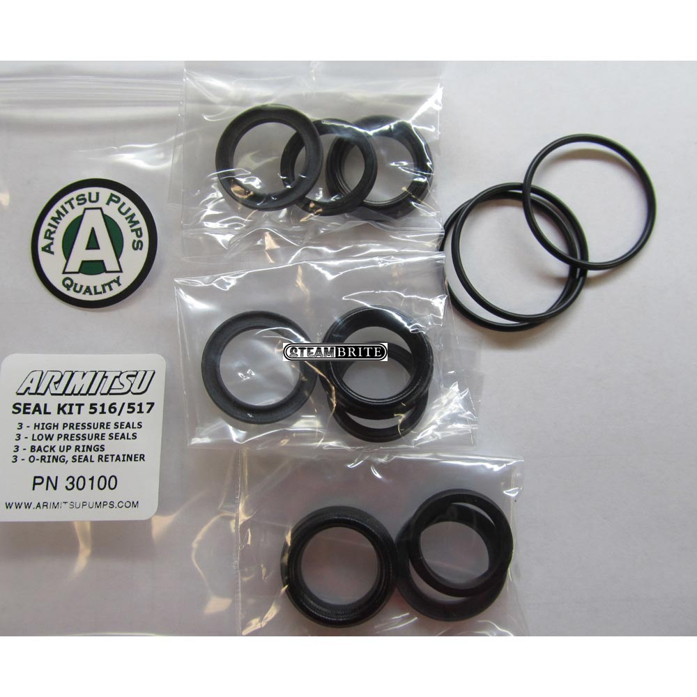 Arimitsu 30100 Seal Kit fits 516 and 517 triplex Plunger Pumps