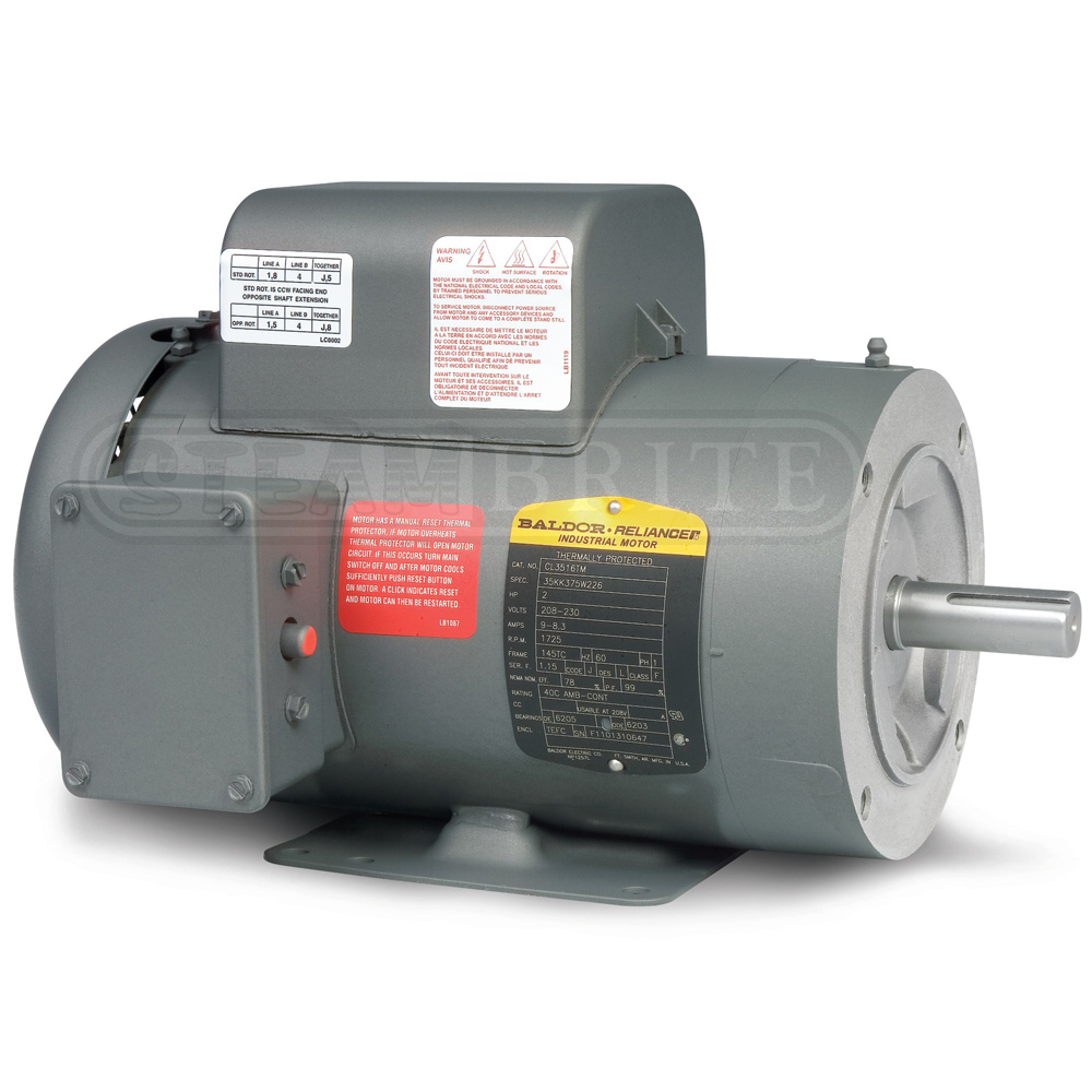 Baldor Motor PCL3519M 3.0Hp Single-Phase 3450 RPM 56C Frame - 230 Volts 12.5 Amps