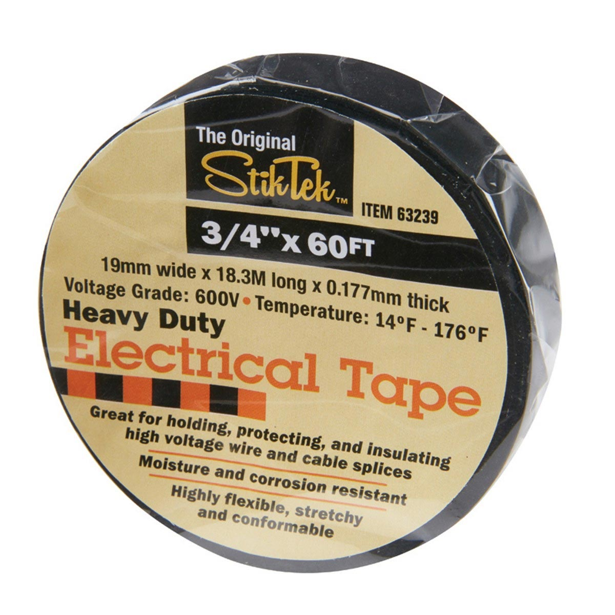 Black Electrical Tape 5MZ89 3/4 in x 60 Ft Industrial Grade Electrical Tape