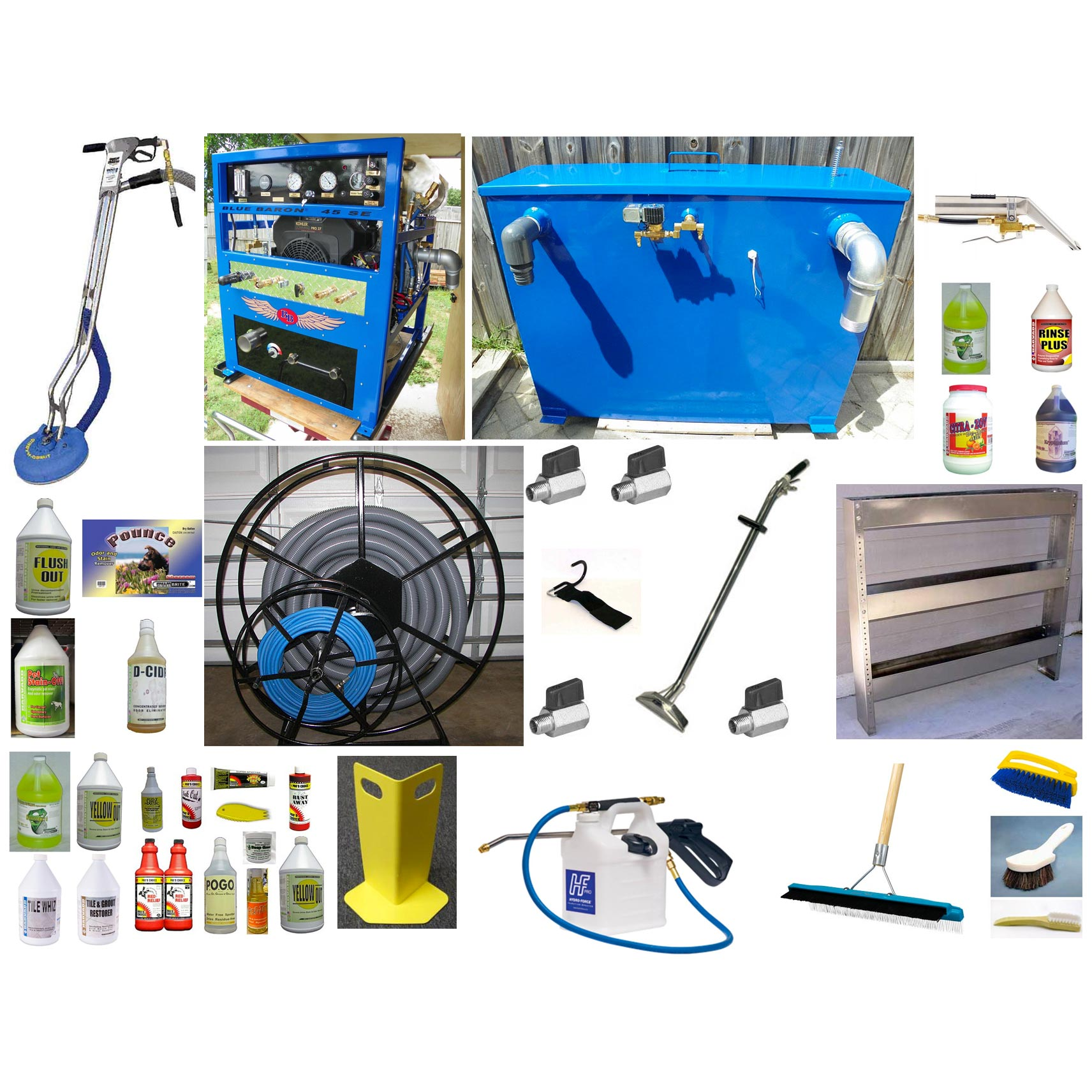 -Blue Baron 45SE 27hp Truckmount Tile & Carpet Cln DELUXE STARTER PACKAGE 300 ft reel 200 ft hose set Wand In Stock
