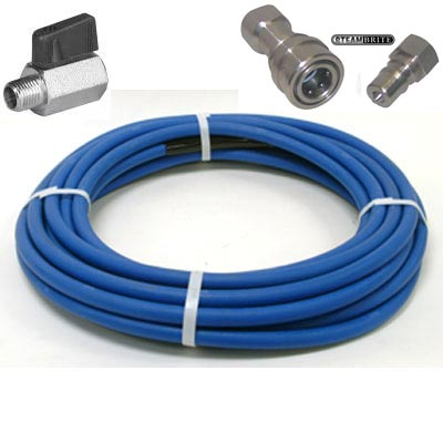 Clean Storm KPPH50AF Pro 4000 psi Blue Solution Hose 50ft Long x 1/4in ID Non Marking Jacket AH176 With Stainless Couplers and Ball Valve