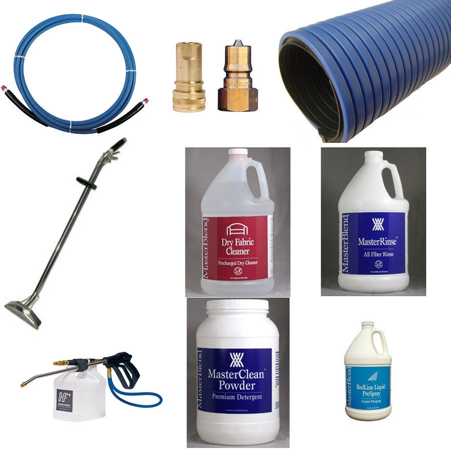 - Carpet Cleaner's Kit Universal Basic Start Up Package - Wand, Hoses, Hand tool, Injection Sprayer & Chemicals - All In One