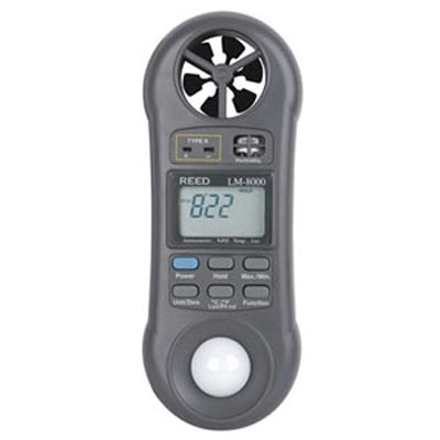 CFM Meter Reed LM-8000 Rh Meter Light Meter Anemometer, Humidity Meter, Type-K Digital Thermometer AC292