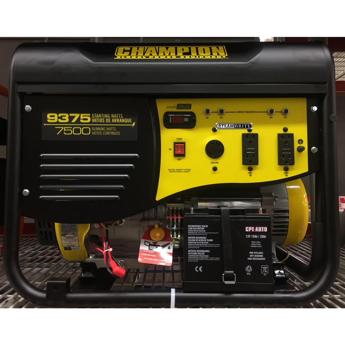 Champion Power Equipment 100219 Electric Start Generator 9375 Surge 7500 Watt Run 439cc CA Approved Engine 3 Year Warranty