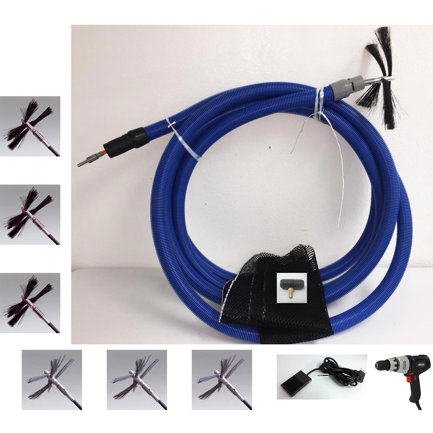 Clean Storm CE3049 TruckMaster 20 ft Truck Mount Accessory Air Duct Cleaning System w/ 7 Brushes AD101  CE2958D