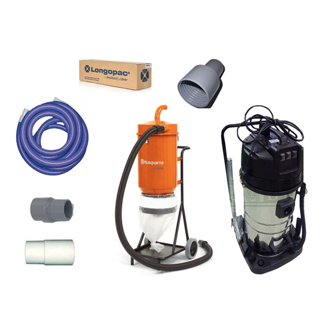 Concrete Dust Vacuum HEPA Triple Vacuum 3 Motor Triple Filter Wet Dry Shop Vac 20 Gal 288Cfm Tool Kit 120v Bundle 43199822