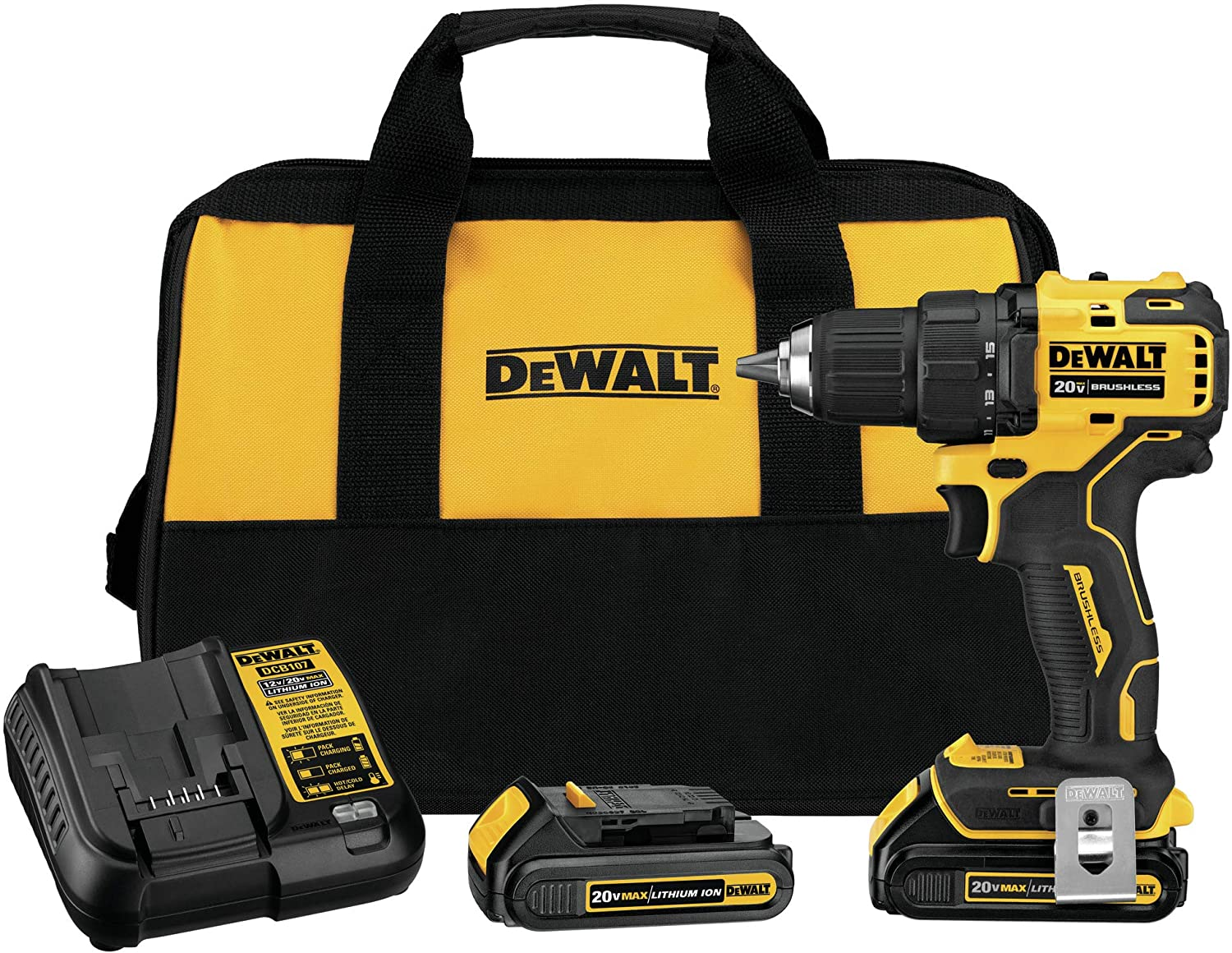 Nikro 860769 Dewalt 20V Cordless Drill 2 Batteries Carrying Case Set