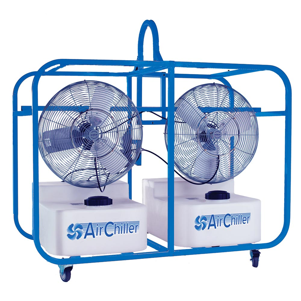 Air Chiller Ind-24D Inch Misting Fan Evaporative Cooler 20000 cfm 64 gallon Double Unit with Roll Cage