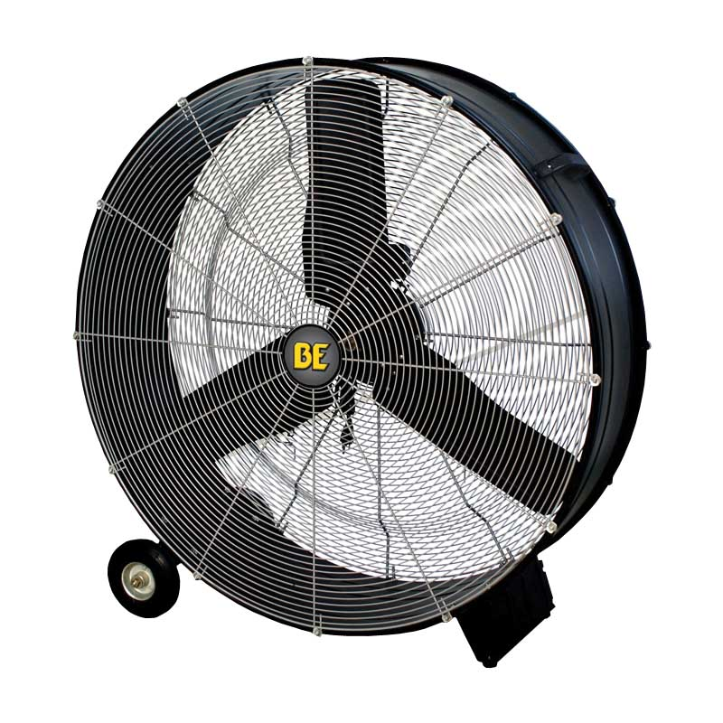 BE Pressure Supply FD36 36in Drum Fan - 11200 CFM W/ Wheels and Handle