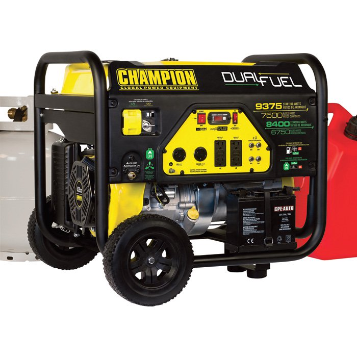Champion Power Equipment Portable Dual Fuel Generator 100165  9000 Surge Watts, 7000 Rated Watts, Electric Start, 51873 (5 units Left)