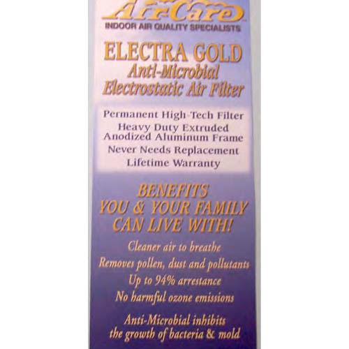 Air Care: Electra Gold Filter Brochures 250/Pkg