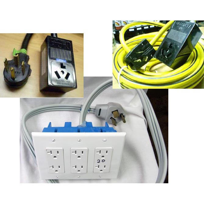 Electrical Converter 230 Volt 3 wire/prong 30 amp TO 115 Volt 3 Gang (6 Outlets) Adapter NEMA 10-30P to NEMA 5-20R Starter Package 10150304