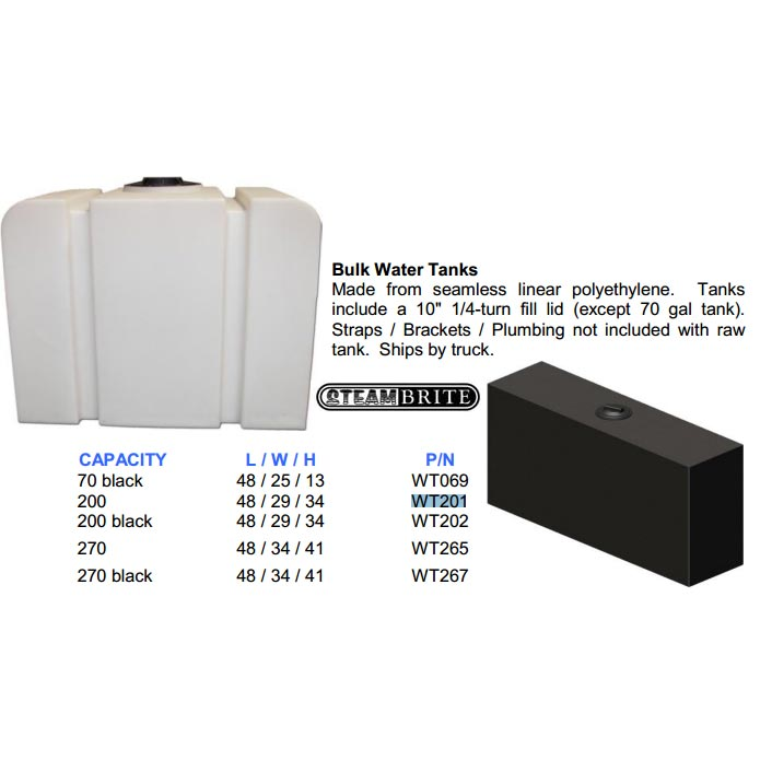 "Hydrotek AW201 White Tank Kit 200 gallon 48"" X 29"" X 34""H Assembly with filter and fittings (no labor)"