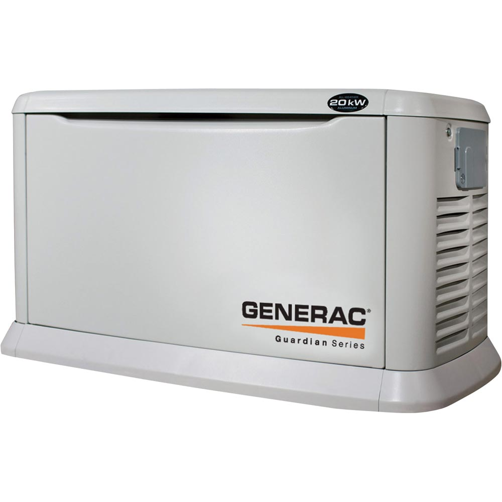 Generac 7039 Guardian Air-Cooled Standby Generator 20kW (LP)/18kW (NG), 200 Amp Service-Rated Automatic Transfer Switch 54314