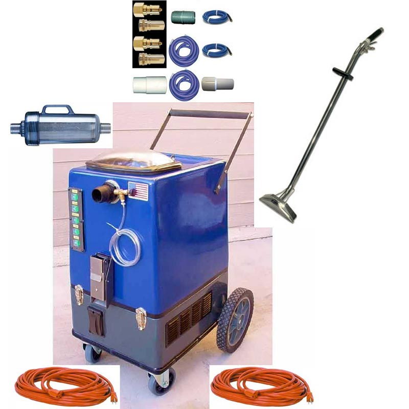 Clean Storm Goliath 15gal 500psi HEATED Four 2 Stage Vacs 14,000 BTU Heater Muffler Auto Fill, Pumper 65 ft Hose Set Wand, Carpet Cleaning Machine
