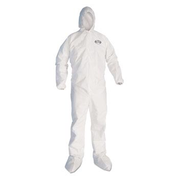 KCC 46122 KleenGuard A40 Liquid Elastic-Cuff and Ankle Hooded Coveralls and Dry Protection MED w/ BOOTS 25