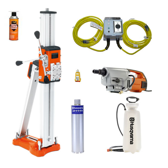 Husqvarna DM 340 Core Rid Drill Start Up Bundle 20191205 with Stand Power Supply Core Bit Motor And More Freight Included