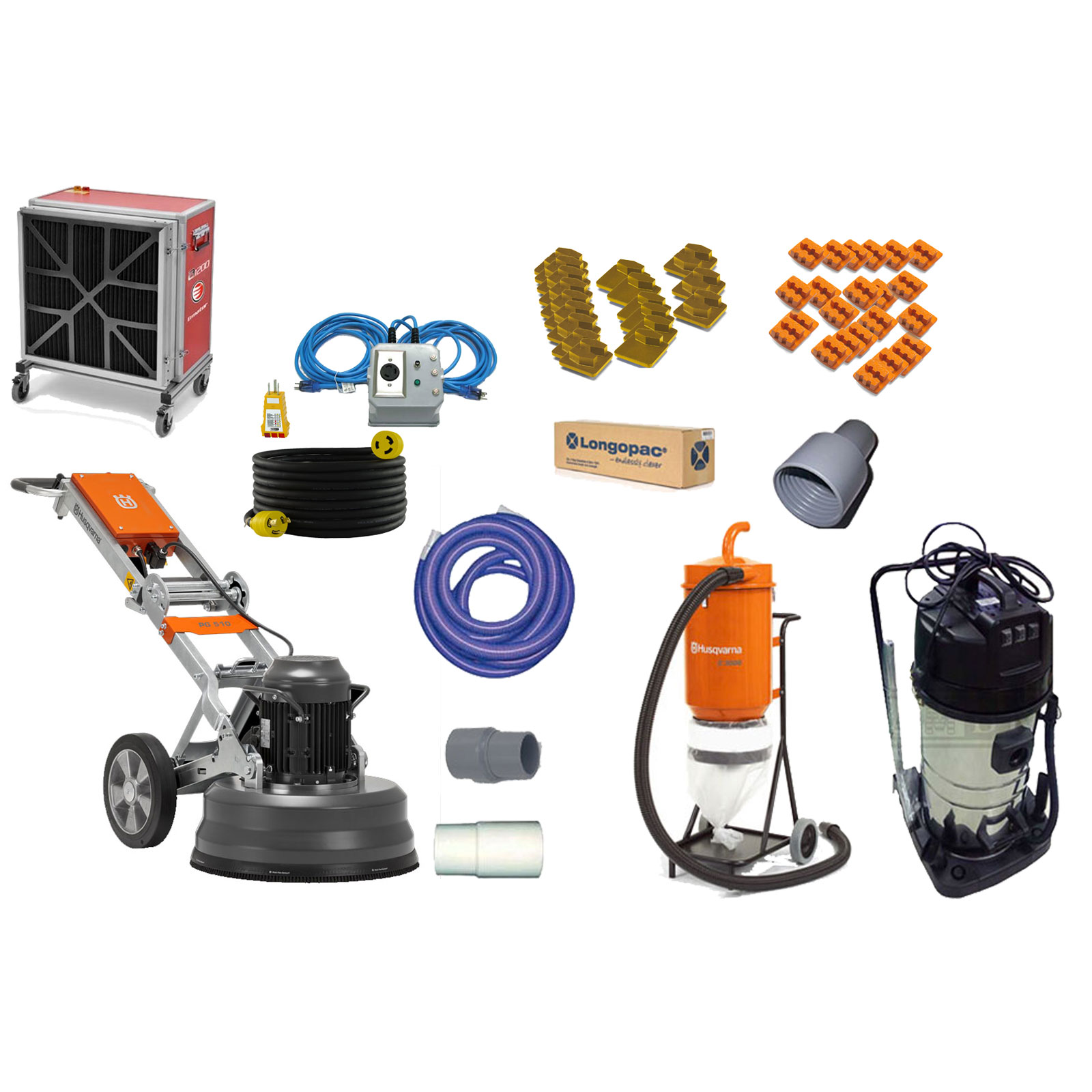 Husqvarna PG 510 Concrete Floor Grinder 240v 15Amp 4Hp 20 Inch 07597023 Power Supply Vacuum PG510 No Generator Required