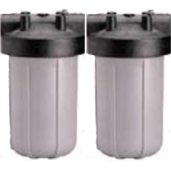 Hydrotek Anti Scale Water Treatment Dual Filter Housings 1inch Fip, Mounting Brackets, 10 Micron, Wrench