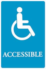 Sign, Wheelchair ACCESSIBLE, 6X9 ,BLUE QUR01409 UST 4725