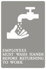Sign, Employees MUST Wash Hands ,6X9,GRAY UST 4726 - QUR 01414