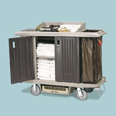 X-TRA FULL SZ HOUSEKEEP CART,W/DOORS,PLAT