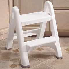 Rubbermaid RHP4209 White FOLDING 2-STEP STEP STOOL