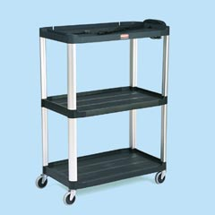 Rubbermaid Commercial Media Cart 48 Inch 3 Shelf Black RCP 9T33 BLA