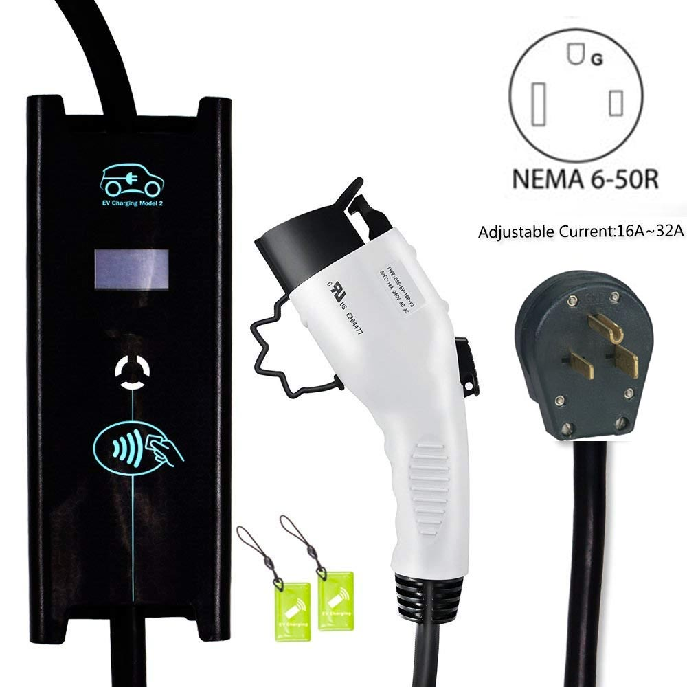 Electric Vehicle Level 2 EV Charger 240V 32 Amp ADJUSTABLE 25ft NEMA 6-50 Portable EVSE Zencar Home Charging Station FREE Shipping 20181011