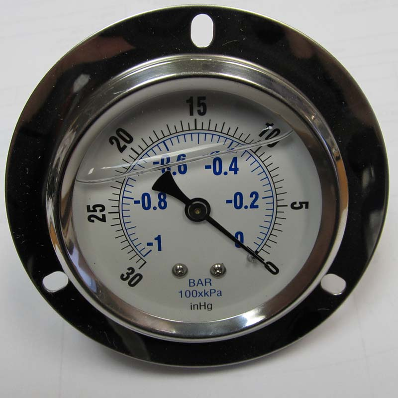 Gauge Truckmount Vacuum 2.5in with front Flange - Rear 1/4in Connection HT-K06