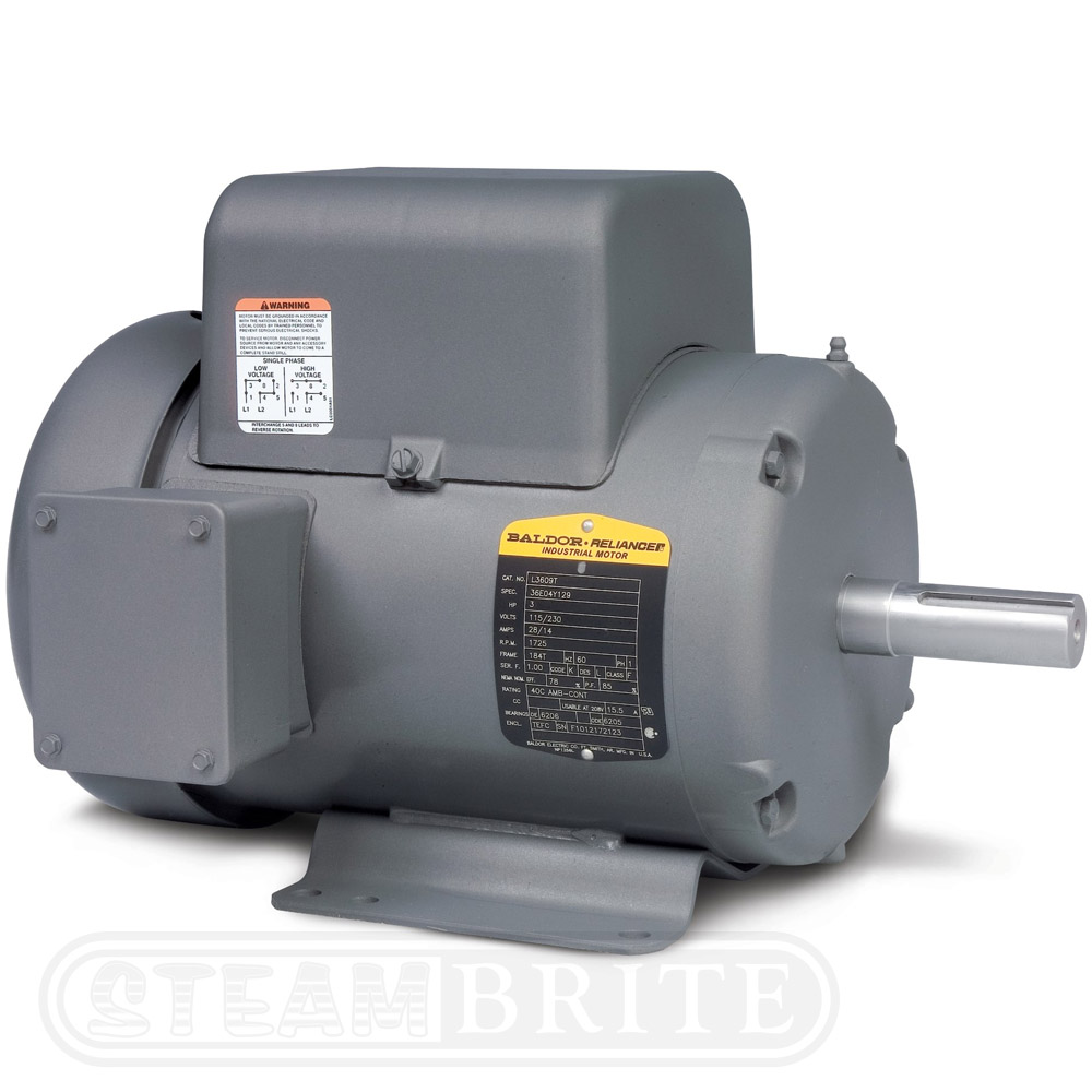 Baldor Motor L3709T - 7.55Hp - Single Phase - 3450 RPM - 213T Frame - 230Volts - 33Amps