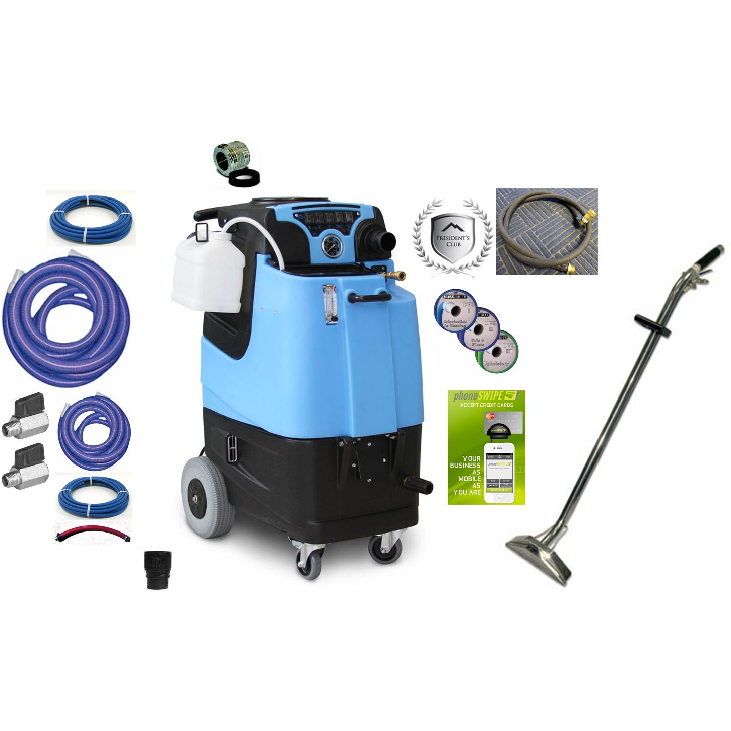 Mytee LTD3 Starter Package Speedster Carpet Cleaning Machine 12Gal 500psi HEATED Dual 3 Stage Vacs Auto Fill 3gpm Auto Dump With Accessories