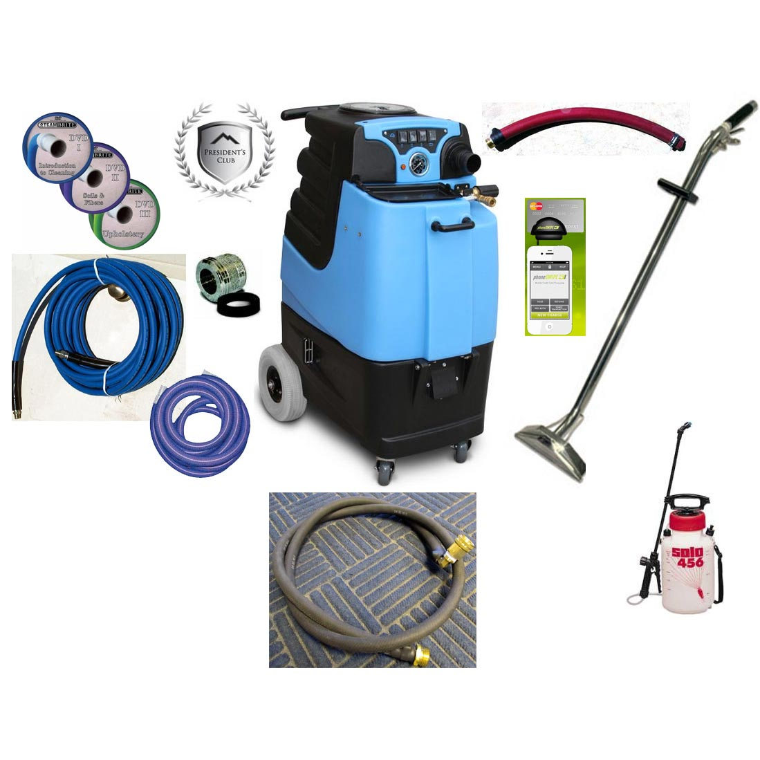 Mytee LTD5LX Basic 15gal 500psi Dual LX Vacs Auto Fill Auto Dump Carpet Upholstery Extractor Basic Starter Package LTD5-LX