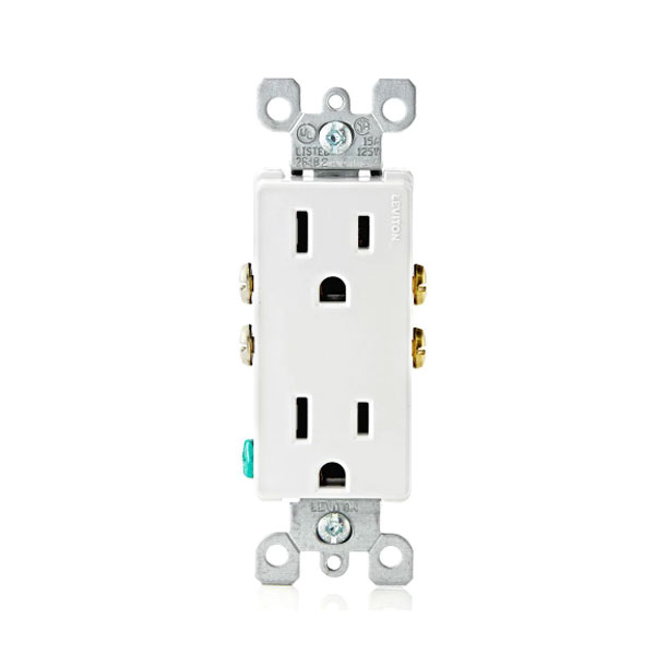 120volt 15amp Decorator Outlet Receptacle dual NEMA 5-15R 078477800829 Each
