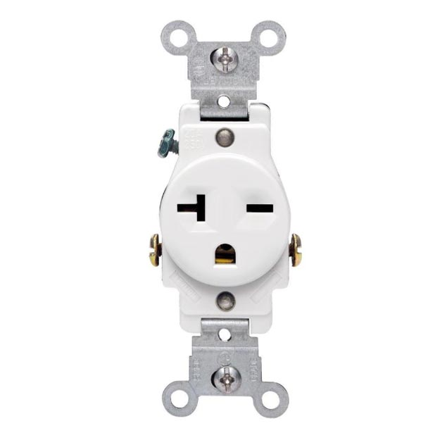 Leviton 250 Volt, NEMA 6-20R, 2P, 3W, Narrow Body Single Receptacle, Straight Blade, Grounding, White