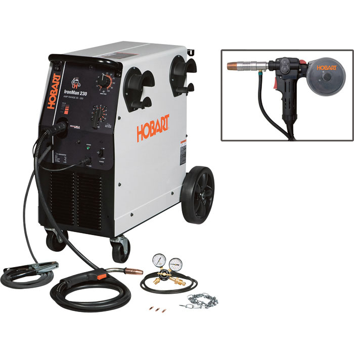 Hobart IronMan 230 230V Flux Cored MIG Welder with Included 20Ft. Spoolgun 250 Amp Output Model 500536001   FREE SHIPPING